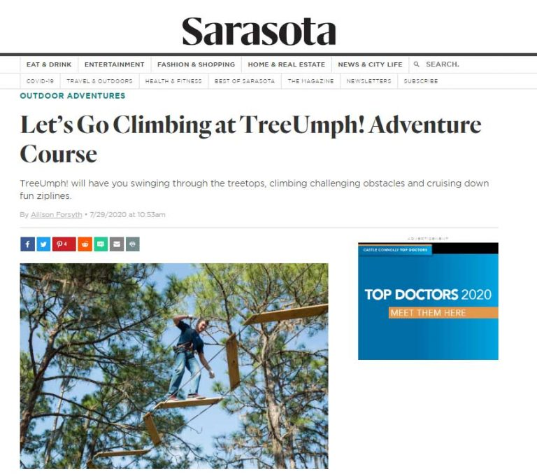 Sarasota Magazine Article Preview: TreeUmph! Adventure Course Story. Click to go to the full story on SarasotaMagazine.com