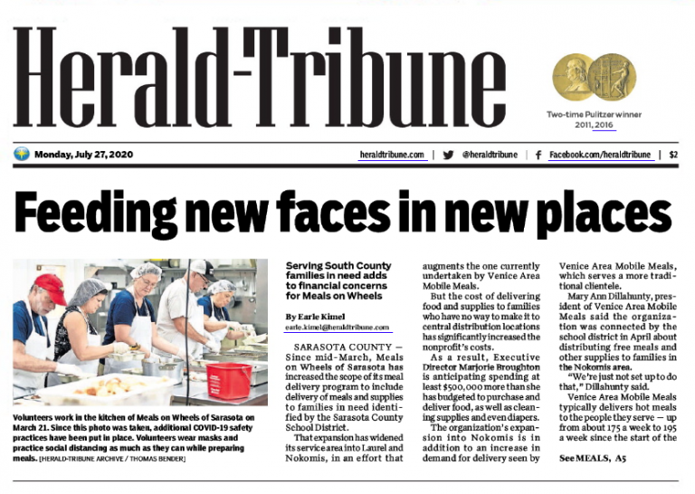 Herald-Tribune Article Preview: https://mainstreetatlakewoodranch.com/pandemic-deliveries-stretch-resources-at-meals-on-wheels/